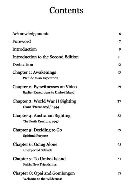 TOC - Searching for Ropens - Table of Contents Table For Three